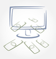 Stylized money falling from computer screen vector image