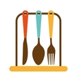 kitchen set cutlery tools icon vector image vector image