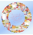 Yogurt fruit and berry round banner vector image