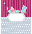 Background with frame with ice cream and candy vector image vector image