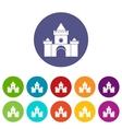 Fairytale castle set icons vector image