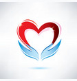 Heart and hand vector image
