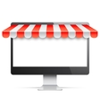 Computer Monitor with Red Awning vector image