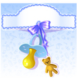 Baby greetings card with blue nipple EPS10 vector image