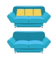 Blue sofa couch design Front view vector image