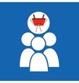 cartoon basket shopping group person vector image