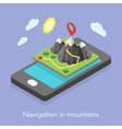 Concept of mobile map in mountains vector image
