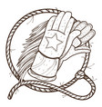 gloves for horse riding and lasso outline drawing vector image