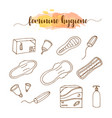 menstruation feminine hygiene hand drawn set vector image