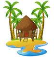 scene with wooden hut on island vector image