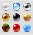 spheres from different materials icons set vector image