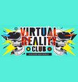 virtual reality flyer with skulls vector image