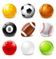 sport balls icons set vector image