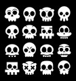 halloween cartoon skull icons mexican vector image vector image