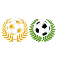 Two Soccer Balls With Wreathes vector image vector image