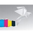 Origami bird ripping paper with print colors vector image