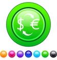Money exchange circle button vector image vector image