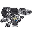 car service with tools vector image