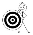 cartoon of smiling business man holding dartboard vector image