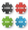 classic poker chips colored poker game vector image