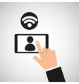 hand touch smartphone person wifi icon vector image