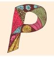 Vintage monogram P Doodle colorful alphabet vector image