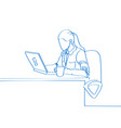 young hand drawn woman sitting in a chair and work vector image