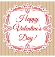 Happy valentine day card with decorative frame vector image