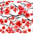 japanese cherry branch spring blossom red sakura vector image