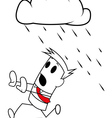 Square guy running away from rain vector image vector image