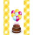 chocolate birthday cake and balloons vector image vector image
