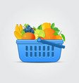 Shopping Basket with Fresh Fruit vector image