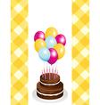 chocolate birthday cake and balloons vector image