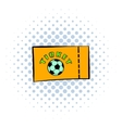 Football ticket icon comics style vector image