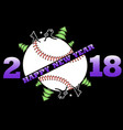 happy new year 2018 and baseball vector image