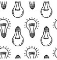 lamp light bulb hand drawn seamless pattern design vector image
