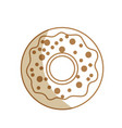 silhouette delicious sweet donut bakery snack vector image