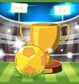 soccer stadium gold ball award vector image