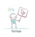 farmer holding a poster with chicken vector image vector image