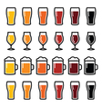 Beer glasses different types icons - lager stout vector image vector image