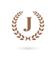 Letter J laurel wreath logo icon vector image