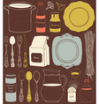 Cookware and food ingredients vector image