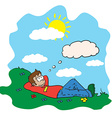 boy resting in a field vector image