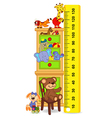 wooden cabinet with toys measure the child growth vector image