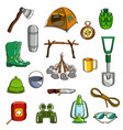 camping equipment set vector image