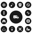 set of 13 editable hospital icons includes vector image