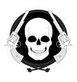 Wild skull west emblem Linear vector image