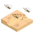 Isometric Military helicopter over the desert vector image