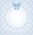 White net lace with bow and pearl frame vector image