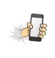 cartoon hand holding phone vector image